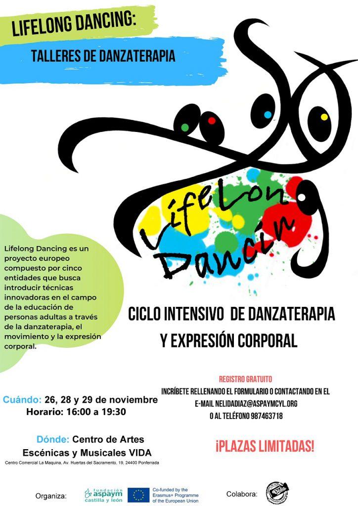 Cartel de los talleres de danzaterapia en Ponferrada