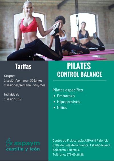 Cartel informativo de las sesiones de Pilates en Palencia