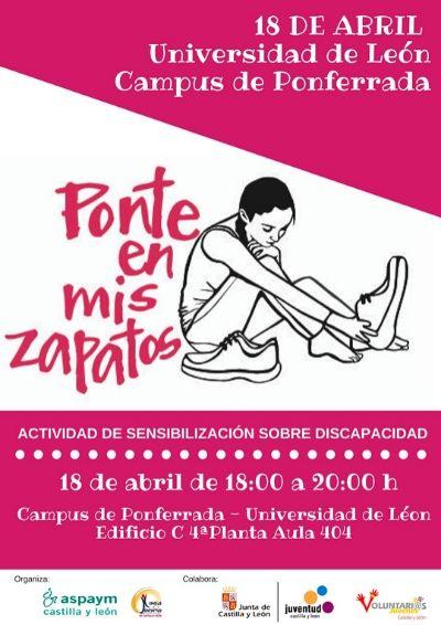 Cartel de la jornada Ponte en mis zapatos en la Universidad de León