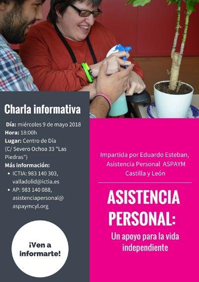 Cartel de la charla informativa Asistencia Personal: un apoyo para la vida independiente en ICTIA