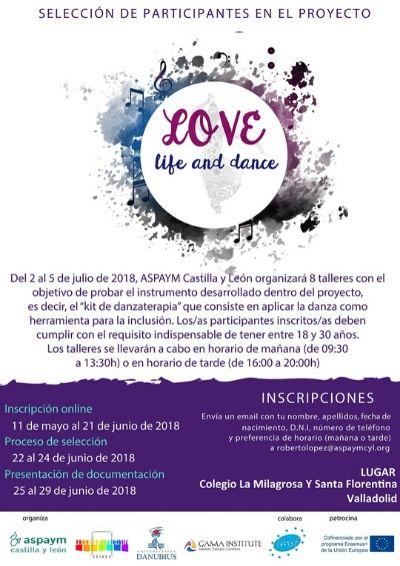 """Cartel para la selección de participantes en el proyecto """"Love life and dance"""""""
