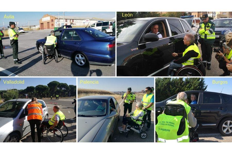 Personas con discapacidad adquirida por accidente de tráfico, conciencian a los conductores en diferentes provincias de Castilla y León