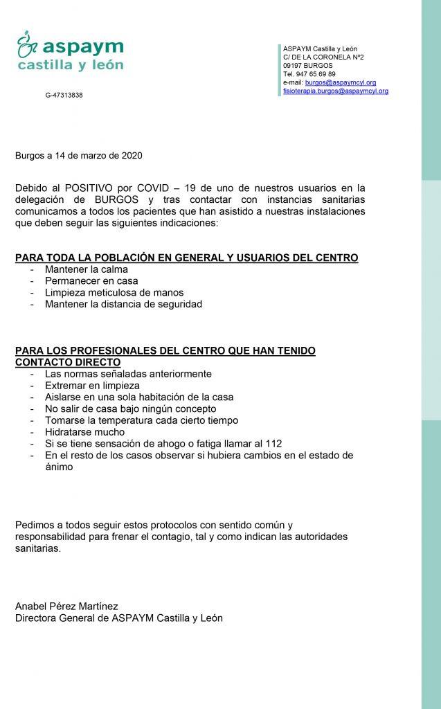 Nota informativa por positivo de COVID en sede de Burgos
