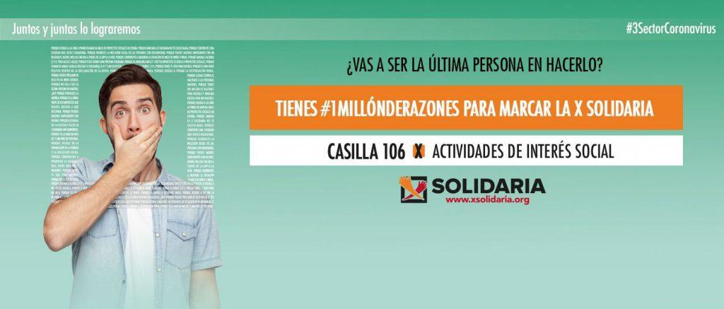 Banner informativo sobre la X Solidaria en la declaración de la renta