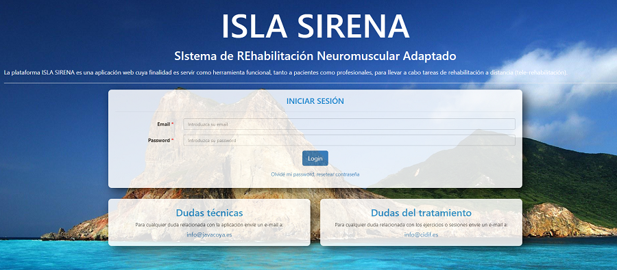 Captura de pantalla de la web de Isla Sirena