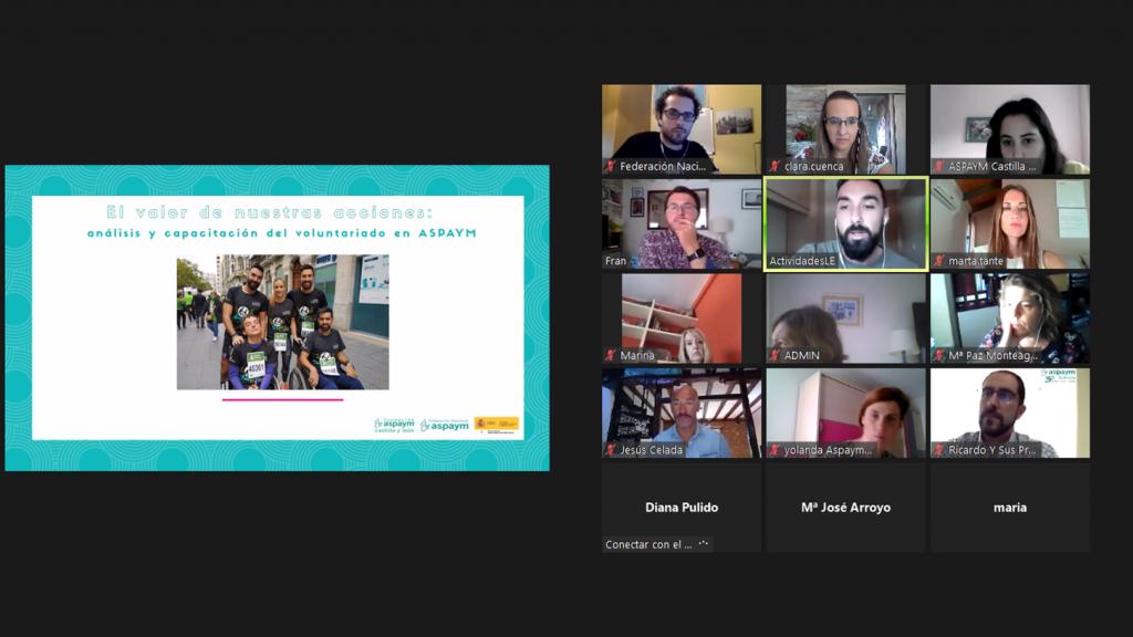 Captura de pantalla del encuentro virtual sobre el Plan de Voluntariado