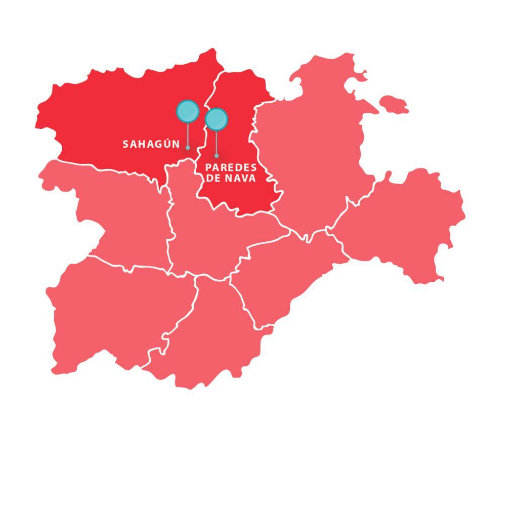 Mapa de Castilla y León con señalización de los dos centros que abren