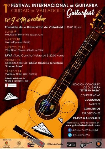 Cartel del 1º Festival Internacional de Guitarra Ciudad de Valladolid Guitarfest