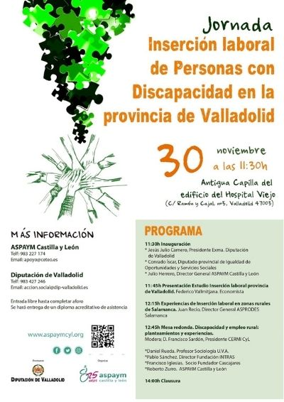 Cartel de la jornada Inserción laboral de personas con discapacidad en la provincia de Valladolid