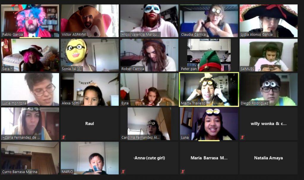 Asistentes al Campamento Online de ASPAYM en una sesión de ZOOM