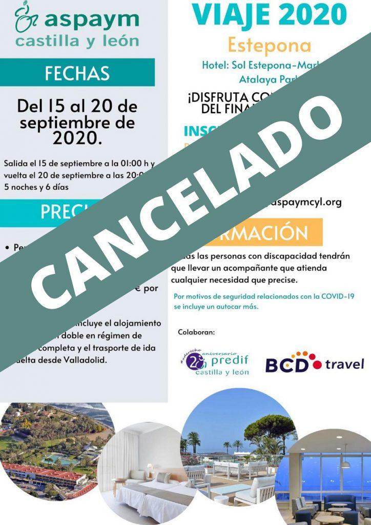Cartel del viaje socios cancelado