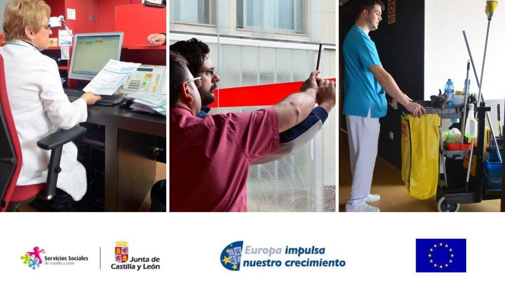 Collage de servicios de limpieza y auxiliares en ASPAYM