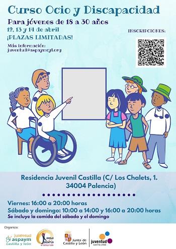 Cartel del Curso de Ocio y Discapacidad de Palencia 2019