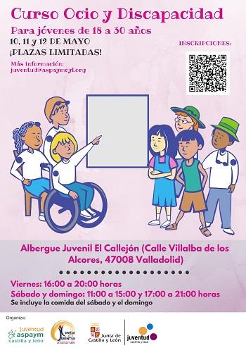 Cartel del Curso de Ocio y Discapacidad de Valladolid 2019