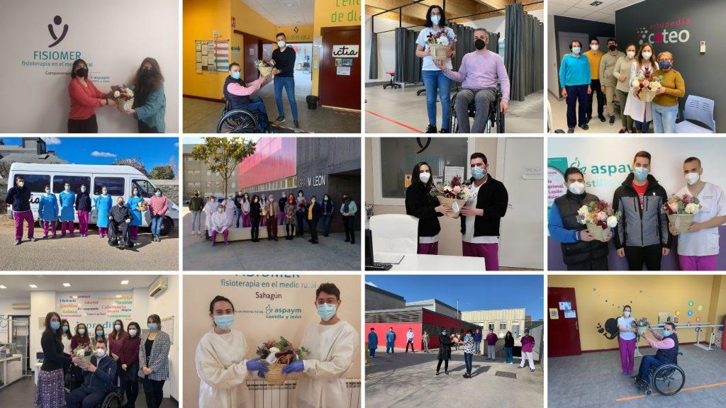 Collage de la entrega del ramo en el día de los empleados de ASPAYM CyL