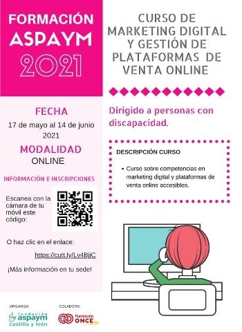 Cartelería curso de marketing digital y gestión de plataformas de venta online.
