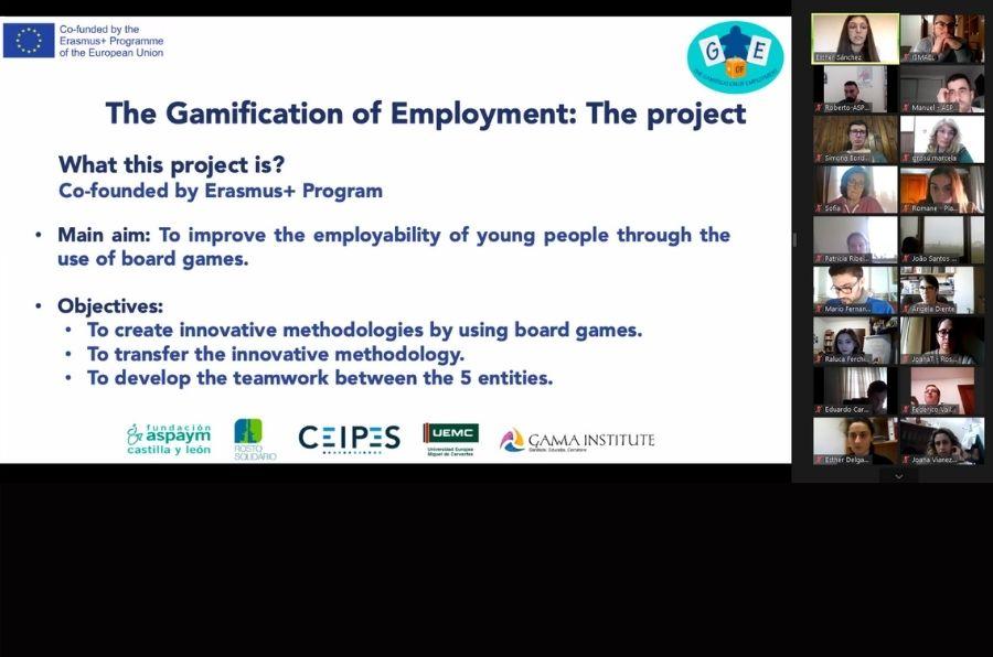 Participantes del evento multiplicador del proyecto The Gamification of Employment comparten los resultados por zoom