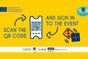 """Imagen de la cartelería con el código QR para inscribirse al evento multiplicador del proyecto """"The Gamification of Employment"""""""