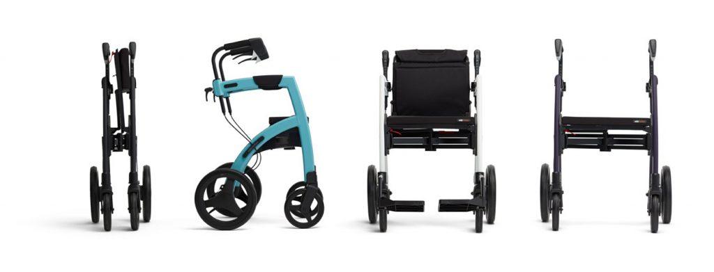 imagen en la que se aprecia las diferentes funciones de la silla andador