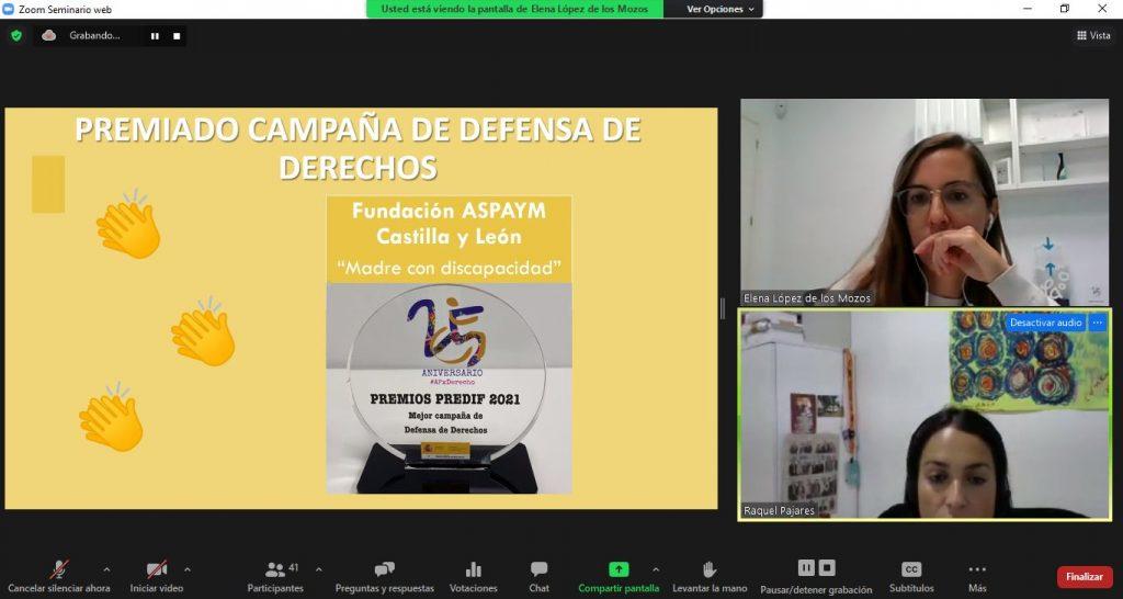 Captura de la entrega del premio a ASPAYM Castilla y León